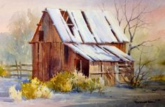 Snow Barn , Watercolor Painting of a Snow Scene - Watercolor Paintings by Roland Lee