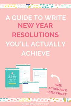 A guide to write new year resolutions you'll actually achieve. Plus free failproof new year resolutions cheatsheet Starting A Business, Business Planning, Business Tips, Time Management Printable, Time Management Tips, Teaching Time, Blog Tips, How To Start A Blog, Business Marketing