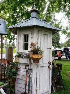 Need a proper storage for all your garden tools? Here's an easy, inexpensive and unique idea for you - a whimsical garden tool shed! While most tool sheds are typically just a nondescript roofed structure in the garden, this one is not only functional, it Greenhouse Shed, Garden Tool Shed, Garden Sheds, Garden Tool Storage, Wood Shed Plans, Barn Plans, Garage Plans, Potting Sheds, Potting Benches