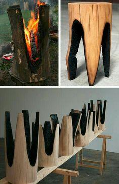 Banquitos hechos de pequeños troncos de madera, quemados estratégicamente para formar las patas como un banco común. Me gusta como se ven una vez terminados, pero creo que se afecta al medio ambiente quemando a los troncos, es decir. si ya fueron cortados porque dañarlos más, quemandolos...