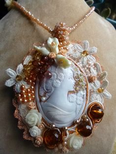 Romantic Necklace with hand crafted shell cameo by crizartshop