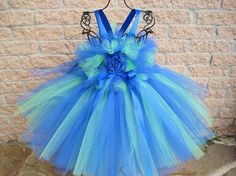 Tutu Dress BLUE with SPRING GREEN Bit of Fluff Top by ElsaSieron, $60.00