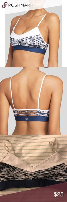 Alo Yoga Blue and White Sports Bra This comfy and stylish Ali yoga bra is in perfect condition. Worn one time, it's too small on me. It's super cute under and tanks or alone during a yoga class. See @turbotaylor listing for matching pants! ALO Yoga Intimates & Sleepwear Bras