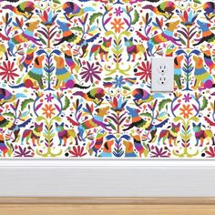 Dog Otomi Multicolor custom wallpaper by kellybozarth for sale on Spoonflower Adhesive Wallpaper, Bathroom Wallpaper, Print Wallpaper, Animal Wallpaper, Custom Wallpaper, Wallpaper Roll, Wallpaper Ideas, Dog Room Decor, Peelable Wallpaper