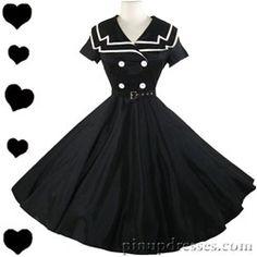 New Retro Sailor Black Full Skirt Dress