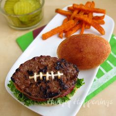 Football Shaped Hamburgers on Football Shaped Buns