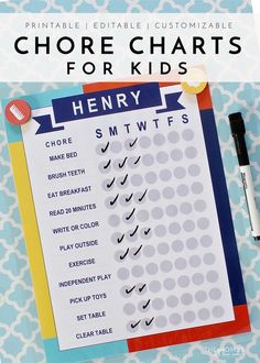 Looking for a fun, easy, interactive and effective way to keep kids on task this summer or anytime? These 21-page printable chore chart kits have everything you need to create charts and routines for the whole family!