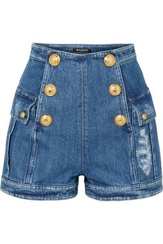 Balmain – Button-embellished Distressed Denim Shorts – Blue The clothing culture is very old. Denim Outfits, Kpop Fashion Outfits, Stage Outfits, Denim Fashion, Street Fashion, Fall Fashion, Fashion Trends, Distressed Denim Shorts, Spring Summer
