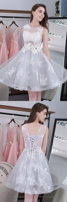 Sweet Short Homecoming Dresses, A-line Lace Prom Dresses, Scoop Neck Tulle Party Dresses, Cheap Knee-length Evening Gowns