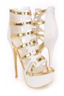 White Metallic Strappy High Heels Faux Suede