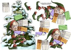 Shaped Topper Christmas Elf Carefull on Craftsuprint designed by Anne Lever - This fun, shaped christmas topper features an elf that is on the verge of dropping his large stack of presents! It has decoupage to add depth. The topper is sized to fit onto an a5 card. - Now available for download!