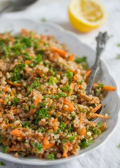 Vegan roasted buckwheat salad recipe with carrots, scallions and a sweet and lemony dressing. Raw Food Recipes, Salad Recipes, Diet Recipes, Vegetarian Recipes, Cooking Recipes, Healthy Recipes, Cooking Tips, Vegan Buckwheat Recipe, Buckwheat Salad