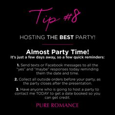 Party Planning Tips - Pure Romance Click The Pin Pure Romance Party, Romance Tips, Pure Romance Consultant, Passion Parties, Marriage Romance, Successful Relationships, Marriage Problems, Get Excited, Jealousy