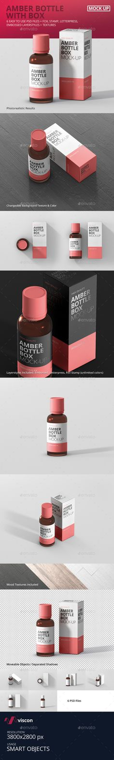 Amber Bottle Box Mockup by visconbiz 6 high quality amber bottle with a box psd mockup for print, portfolio, showcase, ads, banner and more. Organized and named layers