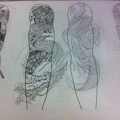 Oriental tatto Sketch Dragon  Koi