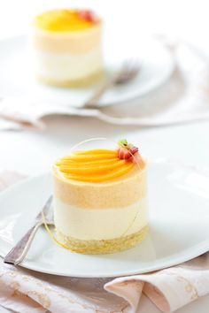 Peach Chamomille Mousse Cakes: