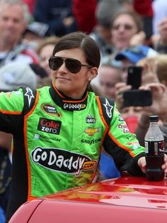 Danika Patrick...Daytona 500 2-24-13 1st woman to win pole position, 1st woman to lead a lap on green flag, and highest placing woman by placing 8th.
