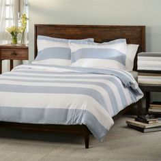 600 Thread Count Cotton Rich Striped Cabana Duvet Cover Set ALL SIZES