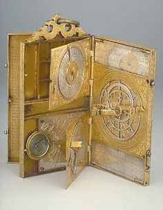 Astronomical Compendium signed by Johann Anton Linden, dated Heilbronn Gilt brass, 75 x 146 x 20 mm. Objets Antiques, Instruments, A Discovery Of Witches, Sistema Solar, Antique Clocks, Renaissance, Art Nouveau, Medieval, Old Things