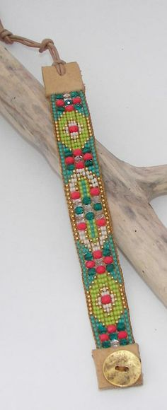 Coral/Turquoise Bead Loom Bracelet by AdoraDesigns for $95.00