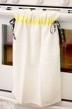 Simple DIY hanging dish towel!