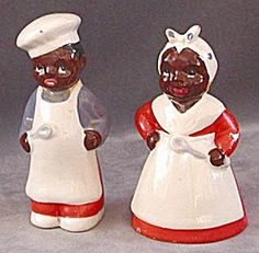 Vintage Black Mammy and Chef Salt & Peppers (Salt & Pepper Figural) at Silversnow Antiques and Kitsch, Salt N Peppa, Bird Christmas Ornaments, Salt And Pepper Set, Salt Pepper Shakers, Vintage Black, Tea Pots, Old Things, Stuffed Peppers