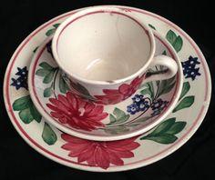 Antique Stick/Spatterware 3 Pc Set // cup saucer by historyofagirl