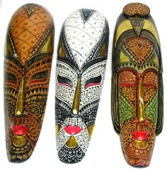 Tribal designed masks, wooden art, ethnic decor, painted wall accessory, aboriginal crafts