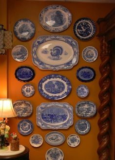 English Blue and white and flow blue china Blue Dishes, White Dishes, Blue And White China, Blue China, China Plates, Blue Plates, Delft, Chinoiserie, Plate Display