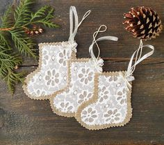 Items similar to Burlap and Lace Small Christmas Stockings, Christmas decoration, Rustic Christmas Home Decor on Etsy Small Christmas Gifts, Handmade Christmas Tree, Whimsical Christmas, Handmade Christmas Decorations, Rustic Christmas, Burlap Christmas Ornaments, Burlap Christmas Stockings, Hanging Ornaments, Christmas Crafts