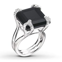 Black Onyx Ring 1/4 ct tw Diamonds Sterling Silver