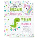 Shop Unicorns And Dinosaurs Birthday Invitation Magical created by PixelPerfectionParty. Combined Birthday Parties, Sibling Birthday Parties, Joint Birthday Parties, Twins 1st Birthdays, Birthday Party Themes, 5th Birthday, Birthday Ideas, Unicorn Party Invites, Dinosaur Birthday Invitations