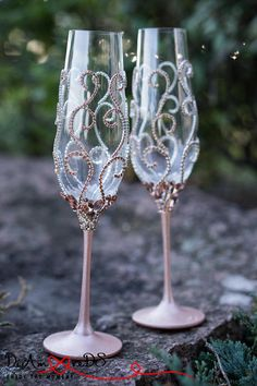 Rose Gold and Crystal Wedding Glasses Champagne Flutes Rose
