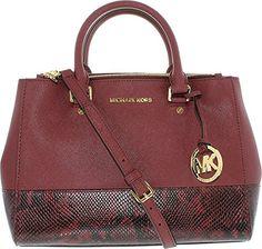 #handbags #MichaelKors Merlot Sutton Medium Embossed Leather Satchel Bag Michael Kors
