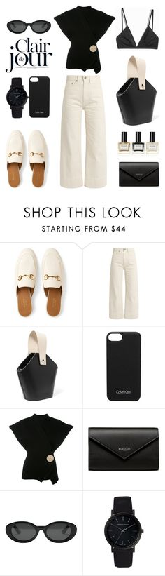 """Unbenannt #1010"" by fashionlandscape ❤ liked on Polyvore featuring Gucci, Brock Collection, Danse Lente, H&M, Calvin Klein, Jacquemus, Balenciaga, Elizabeth and James, Larsson & Jennings and Balmain"