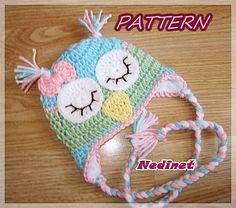 Rainbow Owl crochet hat PATTERN girl crochet by NedinetPattern