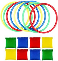 OOTSR Nylon Bean Bags Plastic Rings Game Sets for Kids Ring Toss Game Booth Carnival Garden Backyard Outdoor Games Speed and Agility Training Games Bean Bag Activities, Bean Bag Games, Indoor Activities, Bag Toss Game, Bags Game, Ring Game, Ring Toss, Nylons, Game Booth