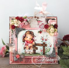 Cardf using TIlda with Spring Heart and Nativity Fence created by Janiel.. http://scrappyjandesigns.blogspot.com/2014/02/hearts-and-flowers-with-tilda-with.html
