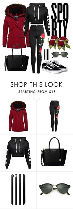 """""""Sporty"""" by mrsnotperfect-203 ❤ liked on Polyvore featuring Superdry, MICHAEL Michael Kors and Ray-Ban"""