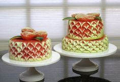 tiered cakes made from watermelon
