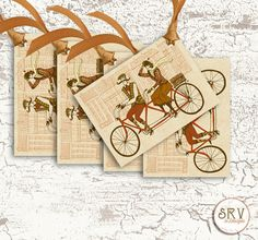 6 Retro Couple Gift Tags, Tweed Couple on Bicycle 2.5 x 3.5 Hang Tags, Message Tags, Product Tag, Choose Ribbon Color by SRVintageandDesigns on Etsy