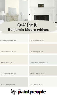 paint colors List of top 10 Benjamin Moore whites by The Paint People Interior Paint Colors, Paint Colors For Home, House Colors, Off White Paint Colors, Paint Colours, Kelly Moore Paint Colors Interiors, Best Greige Paint Color, Magnolia Paint Colors, Indoor Paint Colors
