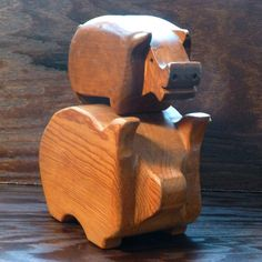 Vintage handmade wooden piggy banks for the by goingoncegoingtwice