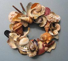 Wreath using multi shells  Annie's Seashell Ideas