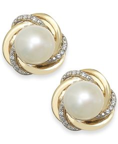 Cultured Freshwater Pearl and Diamond Accent Knot Stud Earrings in Gold - Earrings - Jewelry & Watches - Macy's Crystal Jewelry, Gold Jewelry, Fine Jewelry, Unique Jewelry, Vintage Jewelry, Jewelry Rings, Jewelry Making, Tiffany Jewelry, Opal Jewelry