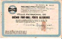 Brazil, Gremio Porto Alegre, Titulo Patrimonial, 1963 (recibo -receipt)