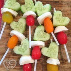 Healthy party idea. Vegetable magic wands. Lollipop sticks and cookie cutters make anything desirable. Www.sugarfreekids.com.au