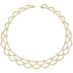 "Estate Buccellati 18k Gold & Diamond ""Ondine"" Bib Necklace"