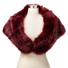 Women's Faux Fur Stole Wrap with Satin Lining Burgundy (Red) - Tevolio, Size: L/XL