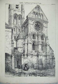 Print Laon Cathedral Church St Martin France Architecture